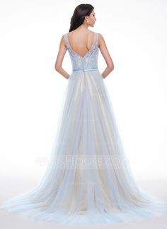 A-Line/Princess Scoop Neck Court Train Tulle Charmeuse Prom Dress With Lace Beading Sequins (018059411) - JJsHouse