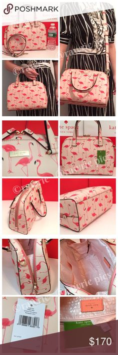 """New Kate Spade felix flamingo Crossbody Satchel 100% authentic. Grainy vinyl with 14-karat light gold plated hardware. Zip top closure and fabric lining. Inside zip and slip pockets. Handles drop 4.5"""". Longer detachable and adjustable strap. Measures 11.5"""" (L) x 8.5"""" (H) x 4.5"""" (W). Brand new with tags. Comes from a pet and smoke free home. kate spade Bags Satchels"""