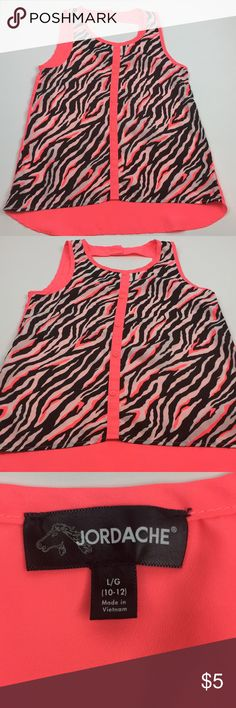 Jordache Sleeveless Stylish Girls Blouse Size L 🔥BUNDLE ME! 🔥 Sleeveless Hot Pink and A touch of Animal Zebra Print, linger in the back, nice for leggings or jeans! Jordache Shirts & Tops Blouses
