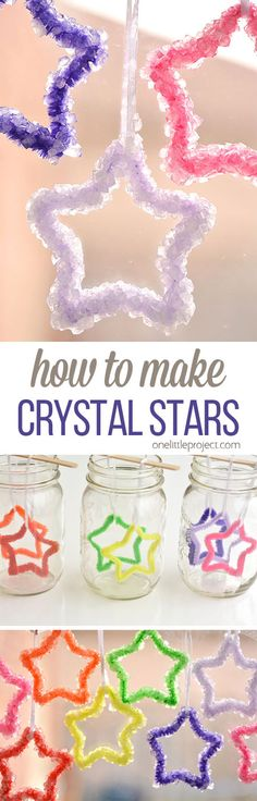 Ok You Guys, I Think I've Fallen In Love With Another Kids Activity. These Crystal Stars Are Awesome Any Activity Where I Get To Make Something Beautiful From Bright Rainbow Colors, And I'm Totally On Board Summer Crafts, Fun Crafts, Crafts For Kids, Arts And Crafts, Borax Crystal Ornaments, Projects For Kids, Craft Projects, Garden Projects, How To Make Crystals