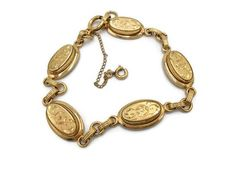 12k Gold Fill Bracelet By Atlas Floral Oval Gold Links with