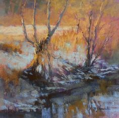 Winter Evening Magic Hour by Barbara Jaenicke Pastel ~ 12 x Pastel Landscape, Winter Landscape, Watercolor Landscape, Landscape Art, Landscape Paintings, Seascape Paintings, Pastel Paintings, Winter Painting, Magic Hour