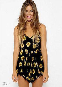 6c172501dfee Summer Sexy Fashion Women Sunflower Print Jumpsuit Hot Pants Playsuit Shorts