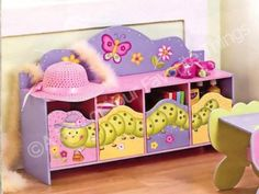 storage benches for kids | PINK GARDEN STORAGE UNIT BENCH TOY BOX BUTTERFLY FLOWER for sale