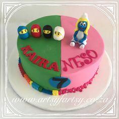 Smurfette and Ninjago Cake Ninja Cake, Cupcake Cakes, Cupcakes, Smurfette, Lego Cake, Birthday Cake, Desserts, Food, Tailgate Desserts