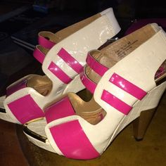 Dereon pink heels Pink and white perfect sized heel, on worn once for my prom. Dereon Shoes Heels