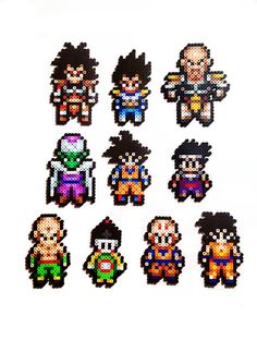 Dragon Ball Z Characters collection. Personajes, bola de dragón,  Perler beads, hama beads, bead Sprites, nabbi fuse melty bead