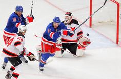 Rangers celebrate as another goal is scored on Brodeur in game 1 of the 2012 Eastern Conference Final