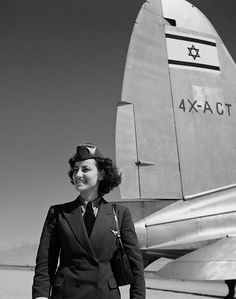 """El Al"" (Israeli airline) stewardess by 4X-ACT ""Galilee"" Source: National Photo Collection of the State of Israel Israel, 1950s"