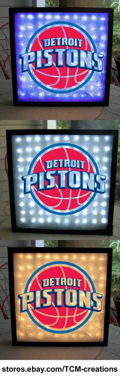 Detroit Pistons Shadow Boxes with LED lighting. NBA, National Basketball Association.