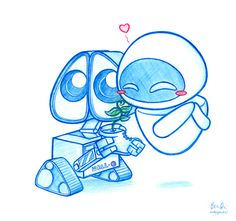 Pixar Drawing Wall-e was the first Disney Pixar movie I saw in theaters but I saw cars first on DVD so I'm a huge fan of those 2 movies Cute Disney Drawings, Disney Sketches, Cartoon Drawings, Cute Drawings, Art Sketches, Disney Kunst, Arte Disney, Disney Art, Disney Pixar