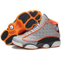 The Nike Air Jordan 13 Retro Grey Orange Shoes are great designed to be lightweight and durable for long-term wear. The Air Jordans Sneakers are ideally fit on… Retro Sneakers, Retro Shoes, Nike Sneakers, Sneakers Fashion, Grey Sneakers, Orange Shoes, Grey Shoes, Shoes Men, Nike Free Shoes