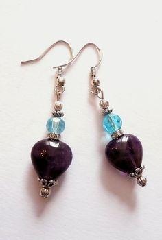 Genuine Heart Shaped Amethyst Swarovski Crystal by IslandGirl77, $18.99
