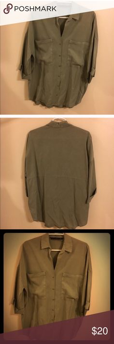 Zara Olive Loose Fitting Blouse Zara Olive Loose Fitting Blouse size Extra Small. Even though the Blouse is Extra Small it fits loose. Zara Tops Blouses