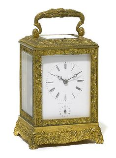 A French gilt brass carriage clock circa 1900