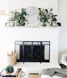 white pumpkins and greenery on fireplace // fireplace decor // fall fireplace decor Scandinavian Fireplace, Fall Home Decor, Home Decor Accessories, Fall Fireplace, Autumn Home, White Brick Fireplace, Cheap Home Decor, Mantle Decor, Home Decor