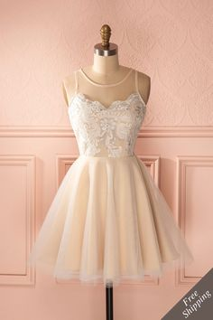Famke - Beige shimmering lace and tulle dress