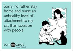 Sorry, I'd rather stay home and nurse an unhealthy level of attachment to my cat than socialize with people.