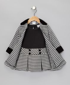 Another great find on Black Houndstooth Dress & Coat - Toddler & Girls by Sweet Heart Rose Little Girl Fashion, Toddler Fashion, Kids Fashion, Little Girl Style, Fashion Coat, Spring Fashion, Baby Outfits, Toddler Outfits, Children's Outfits
