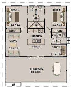 Small 5 Bedroom House Plans Inspirational 2 Bed Study Granny Flat House Plan 965 Ft Do Bathroom – modern courtyard house plans Granny Flat Plans, House With Granny Flat, 2 Bedroom House Plans, 2 Bedroom House Design, Two Bedroom Tiny House, Small House Living, Small House Floor Plans, Little House Plans, Little Houses