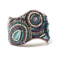 Embroidered, Leather Bracelet, Cuff Bracelet, Beaded Bracelet, Bead Embroidery, Modern Embroidery, Modern Jewelry