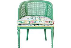 Green Cane Chair w/ Floral Fabric