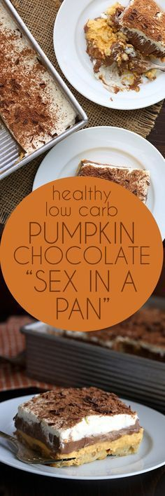 """Rock your world with this low carb """"sex in a pan"""". This keto layered pumpkin chocolate dessert is absolutely divine! Rock your world with this low carb """"sex in a pan"""". This keto layered pumpkin chocolate dessert is absolutely divine! Winter Desserts, Thanksgiving Desserts, Just Desserts, Delicious Desserts, Dessert Recipes, Keto Desserts, Keto Snacks, Christmas Desserts, Dessert Bars"""