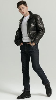 Boys Leather Jacket, Black Bomber Jacket, Best Smart Casual Outfits, Slim Fit Trousers, Mandarin Collar, High Collar, Casual Chic, Style Guides, Street Style