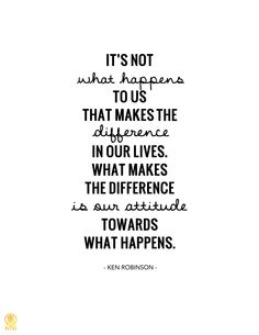 It's not was happens to us that makes the difference in our lives. What makes the difference is our attitude towards what happens.