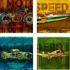 The Need For Speed - Cool Retro Racing Stone Coaster Set, a great gift idea for any guy or house warming party!