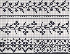 Ravelry: Filetstueck's Handkerchief / hanky in filet-crochet with scalloped edge Fair Isle Knitting Patterns, Knitting Charts, Weaving Patterns, Knitting Stitches, Knitting Yarn, Filet Crochet, Crochet Cross, Easy Crochet, Cross Stitch Borders