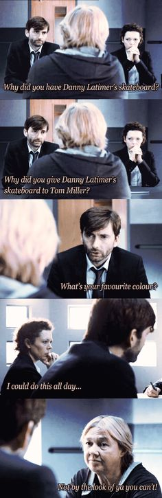 I could do this all day.... #Interrogation  #Broadchurch Series Movies, Movie Characters, Tv Series, Bbc Class, Bbc Drama, David Tennant Doctor Who, John Barrowman, Broadchurch, 10th Doctor