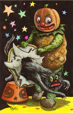 Vintage Halloween Image  pumpkinhead and black cat