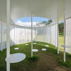 Seoul studio OBBA designed this temporary pavilion to provide a resting place for visitors to an outdoor art exhibition in the city.