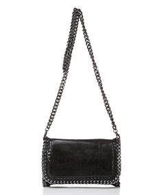 Black Chain-Trim Leather Crossbody Bag by Massimo Castelli #zulily #zulilyfinds