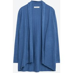 Zara Draped Neck Cardigan (€20) ❤ liked on Polyvore featuring tops, cardigans, blue, blue cardigan, drape neck top, zara cardigan, zara top and blue top
