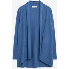 Zara Draped Neck Cardigan (€20) ❤ liked on Polyvore featuring tops, cardigans, blue, blue cardigan, drape neck top, zara cardigan, zara top and blue top