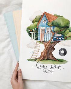 Art Drawings Beautiful, Art Drawings For Kids, Cute Drawings, Art For Kids, Watercolor Painting Techniques, Gouache Painting, Watercolor Illustration, Watercolor Paintings, Tree House Drawing