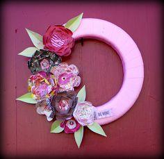 Be mine paper flower wreath