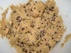 Pregnancy cookie dough. Egg-less cookie dough to eat. Not to bake. Just to eat. Every woman should have this recipe on hand... perfect for girls night in! Eggless Cookie Dough 3/4 cup brown sugar 1/4 cup butter, softened 1/4 tsp. vanilla 1/4 cup milk 1 cup flour Pinch salt 1/2 cup chocolate chips....yummm
