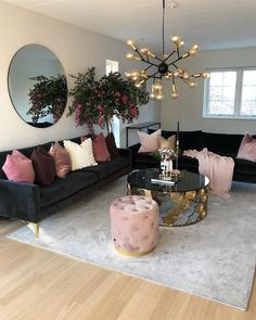 Put some blush on your home Living Room Decoration black and gold living room decor Cozy Living Rooms, Home Living Room, Living Room Designs, First Apartment, Apartment Living, Cozy Apartment, Rustic Apartment, Apartment Ideas, Shabby Chic Apartment