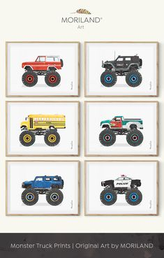 Monster truck birthday party ideas, monster truck printable, monster truck theme room, Toddler Boys Room Decor, Truck Print, Boys Wall Art, Vehicle Print, Transportation Wall Art, Birthday Printable, Instant Download, Watercolor, Car Nursery, Wall Decor, Ideas, Bedroom, Playroom Vehicles, Printable, Birthday Party Decorations By MORILAND Wall Art Festa Monster Truck, Monster Truck Kids, Monster Truck Birthday, Monster Truck Bedroom, Monster Room, Toddler Boy Room Decor, Toddler Boys, Boys Truck Room, Car Themed Bedrooms