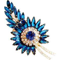 Vintage D&E JULIANA SAPPHIRE Rhinestone Pin Blue Aurora Borealis Brooch 4' -- found at www.rubylane.com #vintagebeginshere #mondayblues