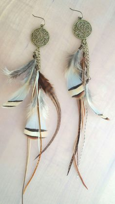 Burning Man Boho Long Feather Earrings - Etsy - $28