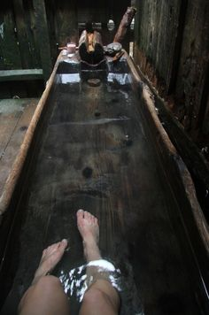 Wooden tub at Bagby Hot Springs. Future House, My House, Cabins In The Woods, Beautiful Bathrooms, Architecture, My Dream Home, Interior And Exterior, Sweet Home, Primitive Bathrooms
