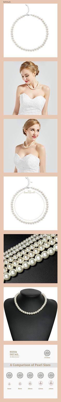 BABEYOND Damen Perlen Ketten Kurze Runde Imitation Perle Halskette Hochzeit Perlenkette für Bräute Weiß (Durchmesser der Perle 10mm) - 14g7