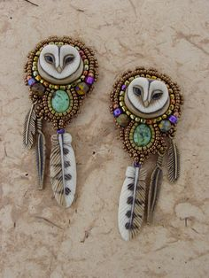 """Sweet Little Owl Earrings"" by Heidi Kummli, porcelain owl & feathers by Laura Mears Owl Earrings, Beaded Earrings, Beaded Jewelry, Handmade Jewelry, Owl Necklace, Owl Jewelry, Jewelery, Jewelry Design, Star Jewelry"