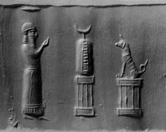 Neo-Babylonian Amuletic Cylinder Seal, C. 600-401 BCThis lapis lazuli seal shows a worshipper before two altars adorned with divine symbols. On the first altar is a crescent mounted on stone, the second altar contains a sitting dog. The sitting dog...