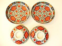 Chinese Decorative Rice/ Soup Bowl and Plate Set http://www.thesecondhandplanet.com #Chinese #Decorative #Ricebowl #SoupBowl #Plate #dinnerset #floral #orange #pair