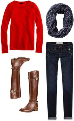 TheOriginalPrep - simple and classic. skinnies, brown boots, red sweater, printed scarf